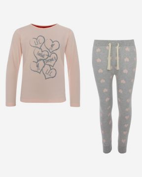 LFC Junior Pink/Grey Marl Long PJ Set