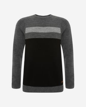 LFC Mens Charcoal Marl Colour Block Jumper