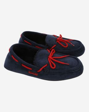LFC Mens Navy Moccasin Slippers