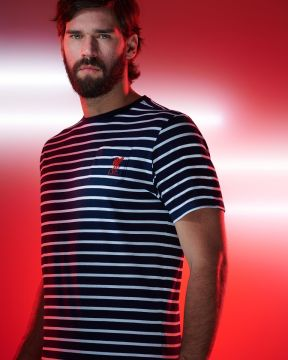 LFC Mens Navy Striped Pocket Tee