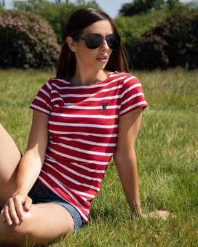 LFC Womens Red and White Stripe Tee