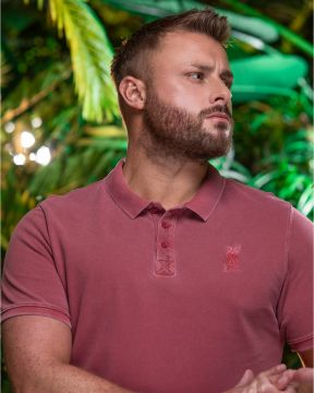 LFC Mens Washed Vintage Red Polo