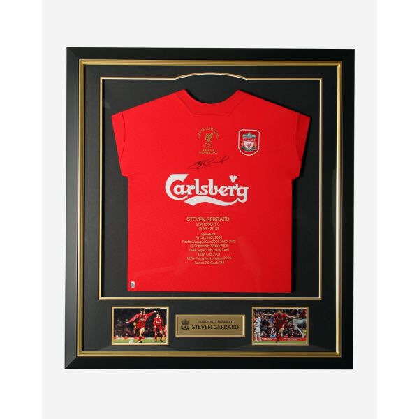 LFC Gerrard Signed Honours Framed Shirt
