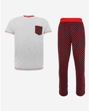 LFC Mens Grey/Red Long PJ Set