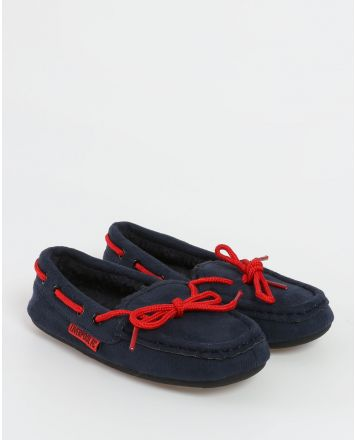 LFC Junior Navy Moccasin Slippers