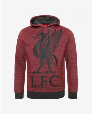 LFC Mens Red Marl Liverbird Hoody