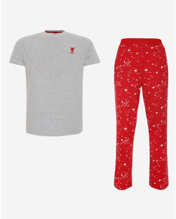 LFC Mens Grey and Red Long PJ Set