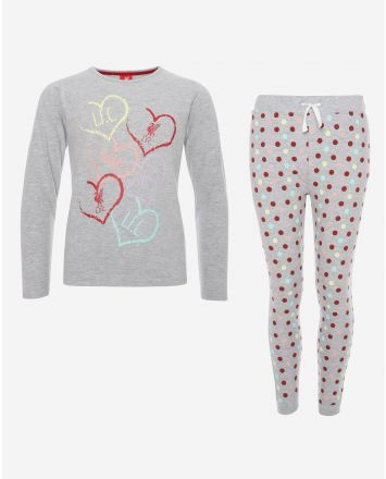 LFC Junior Grey Marl Long PJ Set