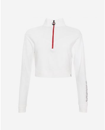 LFC Womens White YNWA Cropped Funnel Neck