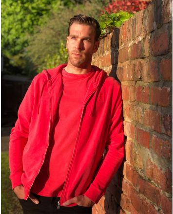 LFC Mens Red Washed Zip Through Hoody